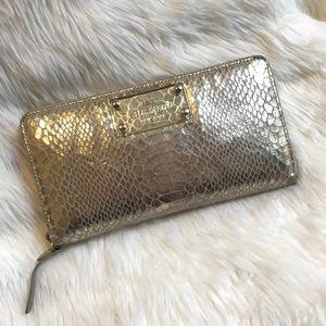 Kate Spade Gold Snakeskin Print Wallet